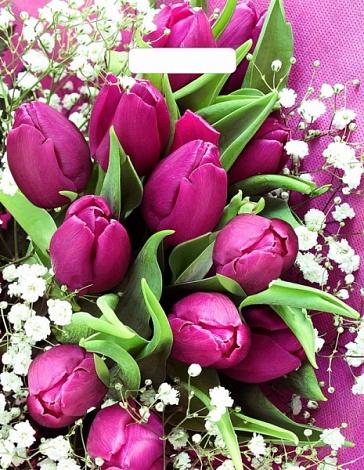 "Пакет ""Розовые тюльпаны"", 31*40 см"